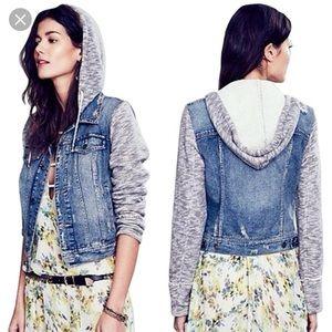 Free People denim jacket w/ knit sleeves and hood